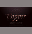 elegant copper colored metal chrome alphabet font vector image vector image
