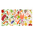 food collection collage vector image vector image