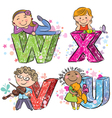 Funny alphabet with kids VWXU vector image vector image