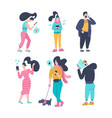 gadgt eddiction concept people using smartphones vector image