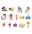 girls badges feminist tags women powerful trendy vector image
