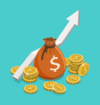 income growth flat isometric concept vector image vector image