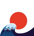 japan sun and tsunami symbol vector image vector image