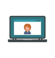 laptop video chat icon flat style vector image vector image