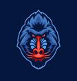 mandrill monkey head mascot logo vector image vector image