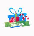 merry christmas gift box and christmas ball vector image vector image