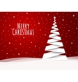 Merry Christmas greeting card White tree vector image