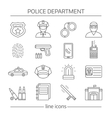 Police Department Linear Icons Set vector image vector image