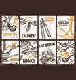 posters with tobacco smoking collection cigarets vector image vector image