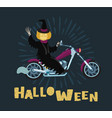 pumpkin man ride bicycle in halloween day vector image vector image