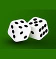 realistic game dice icon in flight closeup vector image