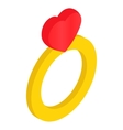 Ring with heart isometric 3d icon vector image vector image