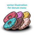 set of cute sweet colorful donuts vector image
