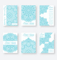 set of six posters gentle blue color with vector image vector image