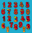 set of vintage numerals red signs with bright vector image vector image