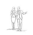 silhouette business man and woman talking vector image