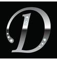 silver metallic letter D vector image