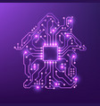 smart house concept violet circuit home isolated vector image vector image