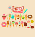 sweet food icon collection vector image vector image