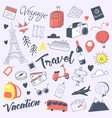 travel hand drawn doodle with luggage globe vector image vector image