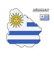 uruguay map and flag modern simple line cartoon vector image vector image