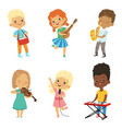 various cartoon kids musicians vector image
