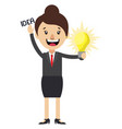 woman is having idea on white background vector image vector image