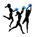 Young jumping girls silhouette vector image
