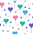 Seamless pattern with flying heart-shaped balloons vector image