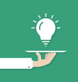 hand serving idea bulb vector image