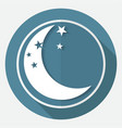 moon icon on white circle with a long shadow vector image