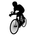 silhouettes of cyclists vector image