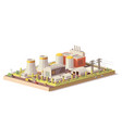 low poly nuclear power plant vector image