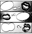 Pop art horizontal lip banners vector image