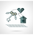 Key chain heart and house flat icon vector image