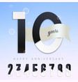 10 years anniversary emblem set numbers vector image vector image