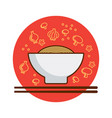 a bowl of noodles vector image