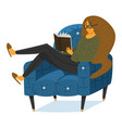a fan books a woman is sitting on couch vector image vector image