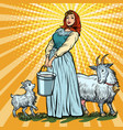 a village woman with bucket milk goats vector image vector image