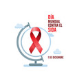 aids awareness red ribbon and globe spanish world vector image vector image