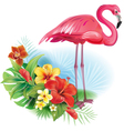 Arrangement from tropical flowers and Flamingo vector image vector image