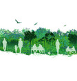 beautiful landscape scene with people on park vector image