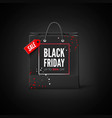 black friday sticker black bag with tag sale and vector image vector image