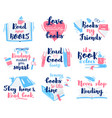 books lettering quotes reading hand drawn vector image