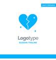 broken love heart wedding blue solid logo vector image vector image