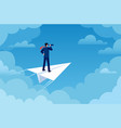 business vision businessman on paper plane vector image vector image