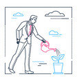 businessman watering the plant - line design style vector image