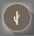 cactus simple sign white icon on brown vector image vector image