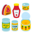collection of various tins canned goods food metal vector image