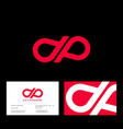 d p monogram drop red business card vector image vector image